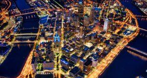 Aerial shot of Pittsburgh, PA at night.